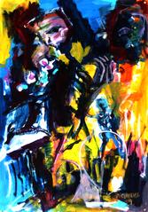 Orphé et Euridice (2019) : Acrylique sur Papier   110 x 75 cm.