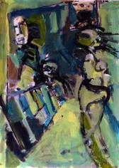 La Grille (2019) : Acrylique sur Papier   70 x 50 cm.