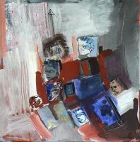 Photomaton 3 (2012) : technique mixte sur Papier marouflé   50 x 50 cm.
