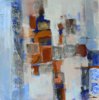 Photomaton 4 (2012) : technique mixte sur Papier marouflé   50 x 50 cm.