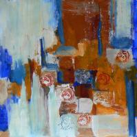 Photomaton 6 (2012) : technique mixte sur Papier marouflé   50 x 50 cm.