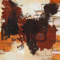 Photomaton 8 (2012) : technique mixte sur Papier marouflé   50 x 50 cm.