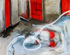 Death of a white lady (2002) : Acrylique sur Toile   88 x 115 cm.