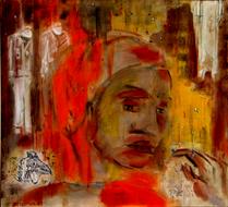 Sourire de pintade (2003) : technique mixte sur Toile   62 x 68 cm.