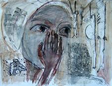 Sommeil d'amazone (2003) : technique mixte sur Papier   50 x 65 cm.