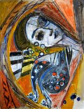 La roue (2003) : technique mixte sur Papier   65 x 50 cm.