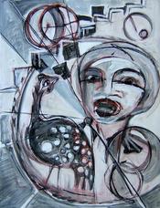 Machination (2003) : Acrylique sur Papier   65 x 50 cm.