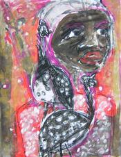 Les peintades (2003) : Acrylique sur Papier   65 x 50 cm.
