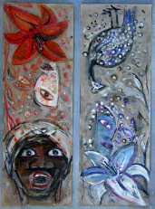 Le lys (dyptique) (2003) : Acrylique sur Papier   68 x 24 cm.
