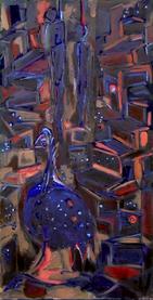 La nuit au cap (2003) : technique mixte sur Medium   80 x 41 cm.