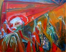 Départ (2004) : technique mixte sur Toile   93 x 120 cm.