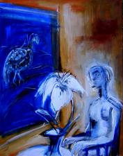 La nuit en attendant (a) (2004) : technique mixte sur Toile   93 x 120 cm.