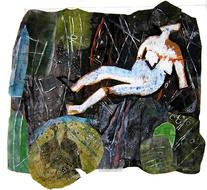 Champs de repos (2004) : technique mixte sur Papier   115 x 125 cm.