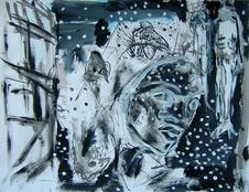 Nuit silencieuse (2004) : technique mixte sur Papier   50 x 65 cm.