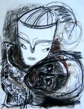 Les masques (2004) : Craie sur Papier   65 x 50 cm.