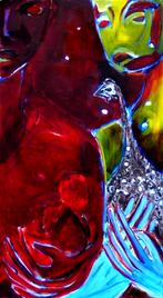 Les mains bleues (2004) : Huile sur Medium   74 x 41 cm.