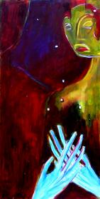 Les mains bleues (2004) : Huile sur Medium   80 x 41 cm.