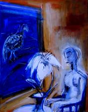 La nuit, en attendant (2004) : technique mixte sur Toile   150 x 93 cm.