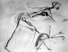 La chasse (d) (2004) : Fusain sur Papier   50 x 65 cm.