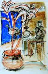 La nuit, en attendant (b) (2004) : technique mixte sur Papier   50 x 33 cm.