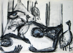 Sans Titre (2004) : Craie sur Papier   42 x 57 cm.