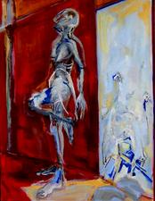 Midi, en attendant (2005) : technique mixte sur Toile   120 x 93 cm.