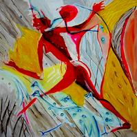 La chasse (b) (2005) : technique mixte sur Toile   150 x 150 cm.