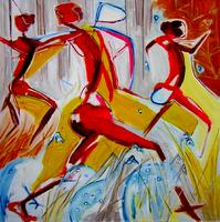 La chasse (c) (2005) : technique mixte sur Toile   150 x 150 cm.