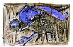 Sommeil d'amazone (2005) : technique mixte sur Papier   33 x 50 cm.