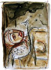 Veillée dans l'herbe (2005) : technique mixte sur Papier   50 x 33 cm.