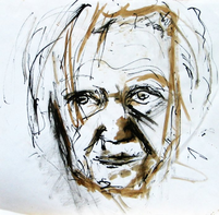 Ma mère (1999) : technique mixte sur Papier   43 x 44 cm.