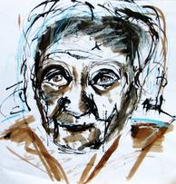 Ma mère (1999) : technique mixte sur Papier   45 x 44 cm.