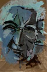 Sans Titre (2013) : Acrylique sur Papier craft   152 x 100 cm.