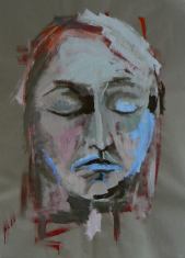 Delphine (2013) : Acrylique sur Papier craft   130 x 100 cm.