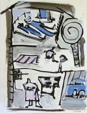 Puppenhaus (2010) : technique mixte sur Papier   65 x 50 cm.