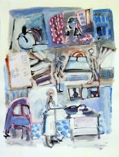Liste de courses (2010) : technique mixte sur Papier   65 x 50 cm.