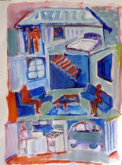 Bleu Velours (2010) : technique mixte sur Papier   65 x 50 cm.