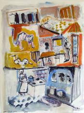 Luxe, Calme et Pouvoir d'Achat (2010) : technique mixte sur Papier   65 x 50 cm.