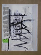 Roland est mort -Tu es parti en hiver - alors que l'herbe etait encore verte - sans attendre la neige (2008) : technique mixte sur Papier   32 x 25 cm.