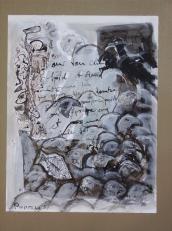 Sous ton ciel -froid et chaud -comme tes yeux -tu es tombé sous ton propre poids -sous ton propre sang (2008) : technique mixte sur Papier   32 x 25 cm.
