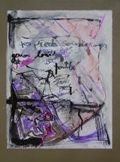 Tes pieds sous ce corps -ton corps -genou lourd -tombé -lourdement -une fois -pour toujours (2008) : technique mixte sur Papier   32 x 25 cm.