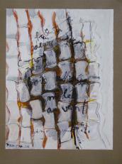 Sentir -l'odeur de ton corps - parfum de bois raffinés -et de boutiques rares - mêlé au vent (2008) : technique mixte sur Papier   32 x 25 cm.