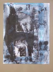 Revoir les yeux -tes yeux de fou -ces yeux sur moi (2008) : technique mixte sur Papier   32 x 25 cm.