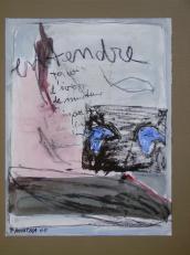 Entendre - ta voix d'ivrogne -de menteur -d'imposteur -de dingue -entendre encore une fois (2008) : technique mixte sur Papier   32 x 25 cm.