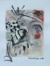 Entrevue (2007) : technique mixte sur Papier   33 x 25 cm.