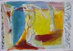 Rencontre 3 (2007) : technique mixte sur Papier   42 x 60 cm.