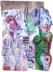 Le Reine de Sabaen Visite chez le Roi Salomon (2007) : technique mixte sur Papier   113 x 82 cm.