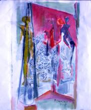 Rideau (2007) : Acrylique sur Papier   100 x 97 cm.