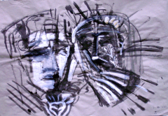 Entrevue (2007) : technique mixte sur Papier craft   103 x 70 cm.
