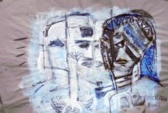 Deux Têtes, Entrevue (2007) : technique mixte sur Papier   70 x 102 cm.